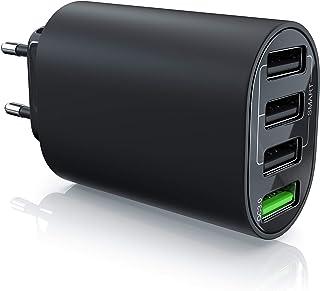 CSL – USB-laddare 35 W QC 3.0–4 port strömförsörjning inkl. snabbladdning – Smart Charge Solid Charge intelligent laddning...