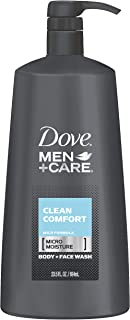 Dove Men+Care Body and Face Wash Pump Clean Comfort 23.5 oz for Healthier and Stronger Skin Effectively Washes Away Bacteria While Nourishing Your Skin (Pack of 4)