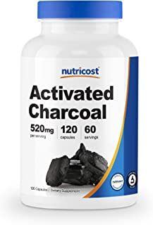 Nutricost Activated Charcoal 120 Capsules - Premium Activated Charcoal Powder, Non-GMO & Gluten Free (1 Bot...