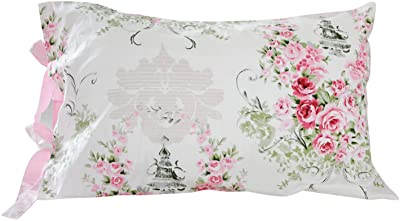 FADFAY Cotton Decorative Pillowcase Rose Floral Pattern Pillow Covers, 2 Pcs(Pink)