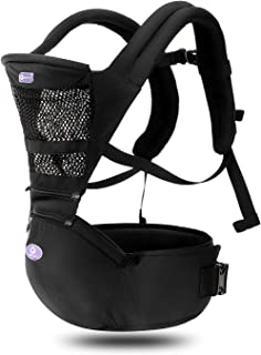 360 Ergonomic Baby Carrier with Hip Seat - AIEBAO Breathable Baby Backpack Carrier Front Facing and Back(3-36 Months,Black)