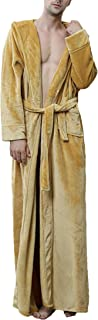 HX fashion Men's Gown Long Thicken Warm Coral Fleece Sauna Coat Comfortable Sizes Hooded Long Sleeve Comfortable Soft with...