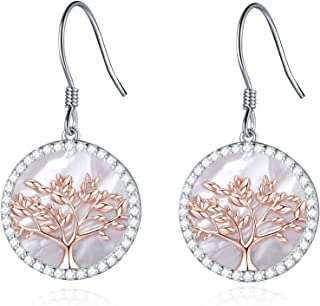 Tree of Life Women's Sterling Silver Mother of Pearl Pendant Earrings Crystals from Swarovski
