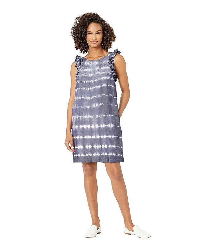 Tribal Denim Lyocell Ruffle Dress with Pockets (Blue) Women
