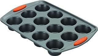 Rachael Ray 54075 Yum-o 12-cup Muffin Pan, Orange Grips