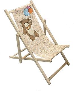 Teddy - Silla plegable de madera para niños al aire libre, jardín, patio, balcón, camping