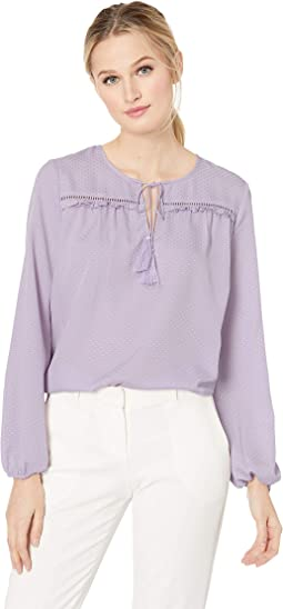 Long Sleeve Satin Jacquard Ruffled Tie Neck Blouse