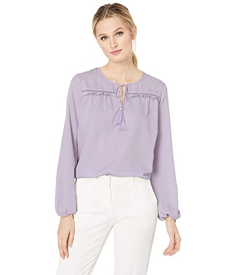 29c2d246f6 CeCe Long Sleeve Satin Jacquard Ruffled Tie Neck Blouse at Zappos.com