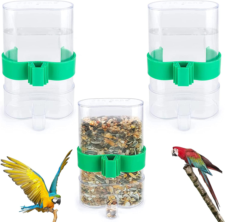 3 Piezas Comedero Automático para Pájaros Jaula Dispensadora de Agua y Alimento Comedero para Pájaros Comedero para Mascotas para Loros, Periquitos, Pájaros del Amor(7.5X13.4cm)