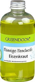 Greendoor Flüssigseife EISENKRAUT zitronig frisch, Nachfüller, Seife vegan 250ml aus Bio Kokosöl, Naturkosmetik ohne Palmöl/Parabene, Natur-Seife Zitronen-Verbene, natürliche flüssige Handseife