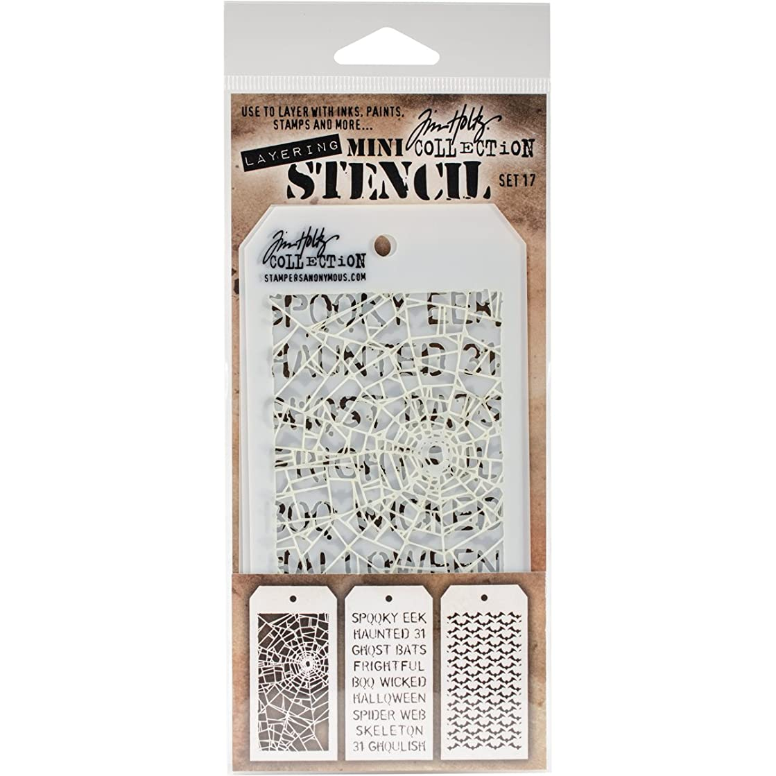 Stampers Anonymous MTS017 Tim Holtz Mini Layered Stencil 3/Pkg-Set #17