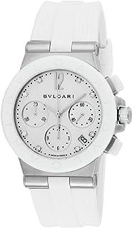[ブルガリ] 腕時計 ディアゴノ ホワイト文字盤 ラバーベルト 自動巻 クロノグラフ ダイヤモンド 100M防水 DG37WSCVDCH/8 並行輸入品 ホワイト
