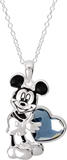 Disney Jewelry for Women and Girls, Sterling Silver Mickey or Minnie Mouse Holding a Crystal Heart on 18