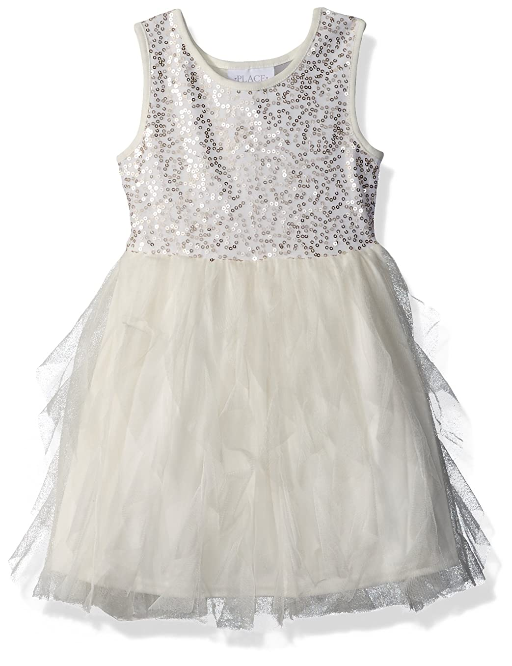 The Children's Place Big Girls' Sequin and Mesh Dress