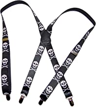 """product image for Hold-Ups Urban Youth Skull pattern 1"""" wide in X-back with No-slip Silver Clips"""