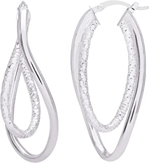 Diamond2Deal 925 Sterling Silver Small Cubic Zirconia Peace Symbol Post Earrings