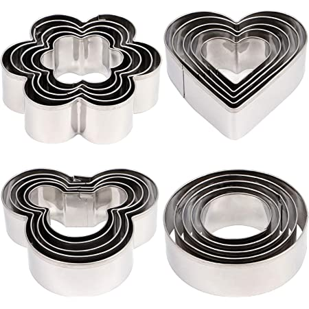 20pcs Large Cookie Cutter set, Mickey & Heart & Flower & Round Shapes Cookie Cutters Molds for Biscuits, Cakes, Vegetable and Sandwiches, 0.4mm Thickness & 2.5cm in height