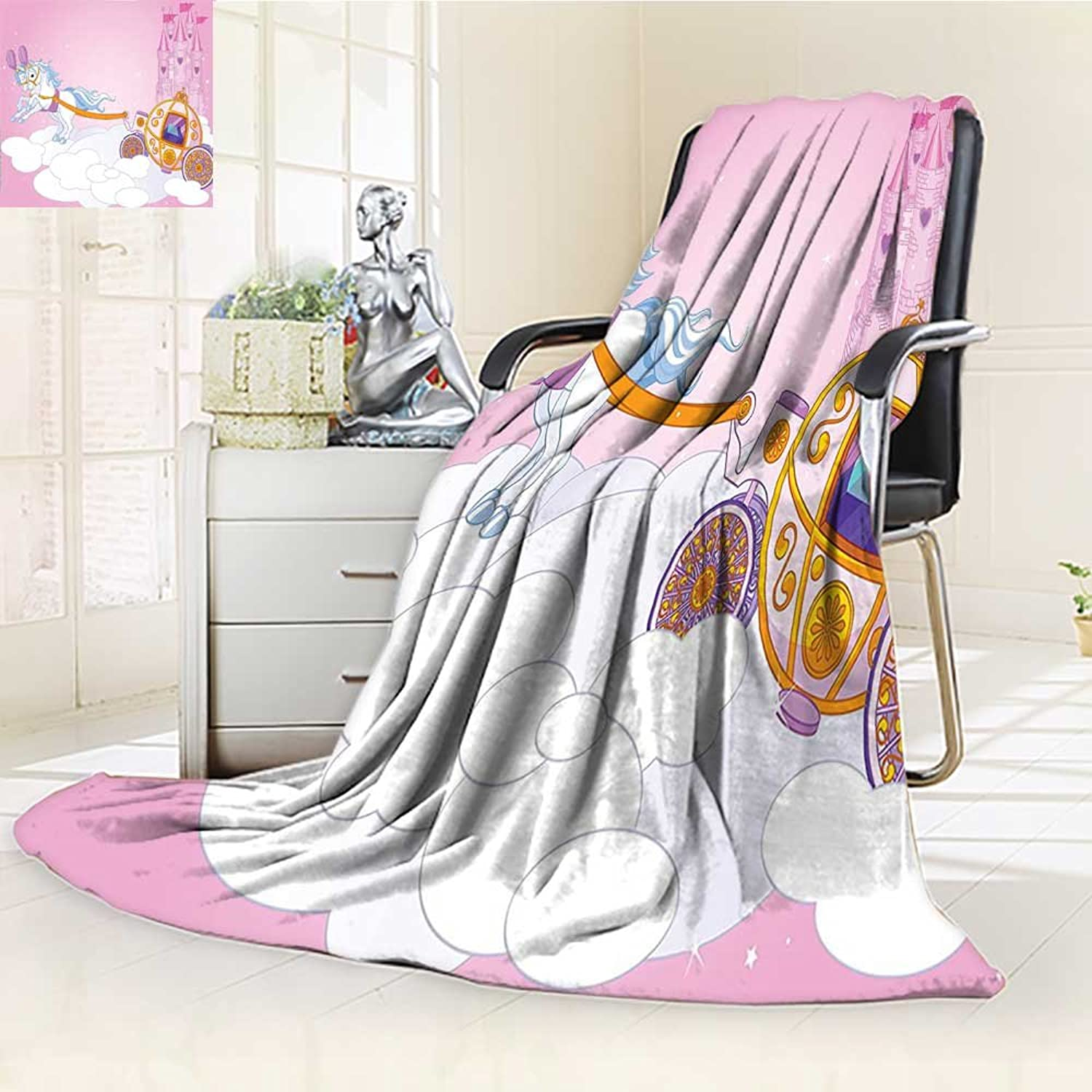 YOYI-HOME Lightweight Duplex Printed Blanket Teen Girls of a Fairy Tale Carriage in The Sky Kingdom Tower Clouds Image Pink White orange Digital Printing Blanket  W39.5 x H59