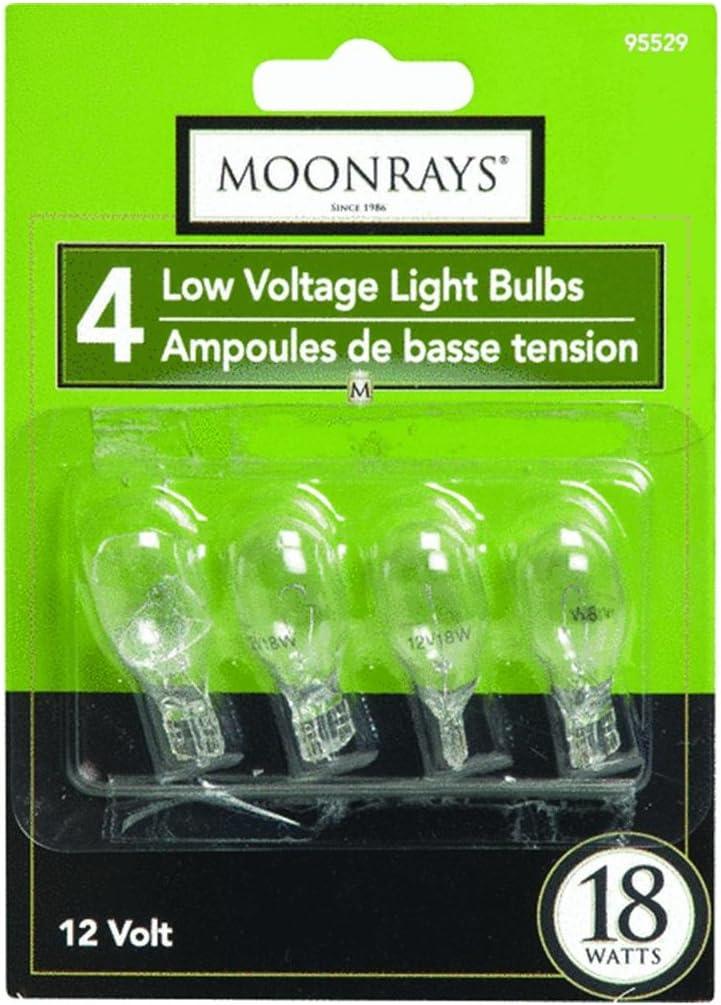 Moonrays 95529 Wedge Base Light Bulbs, Clear, 18-watt, 4-Pack