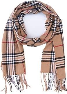 Men Winter Plaid Soft Elegant Cashmere Feel Wrap Scarf Grey Plaid