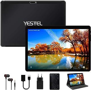 YESTEL Tablette 10.1 Pouces Android 10.0 avec 4 Go RAM 64 Go ROM avec WI-FI Tablette Tactile,Caméra HD 5MP + 8MP,Double SIM, 8000 mAh (Clavier/Étui Housse/Type C) -Noir