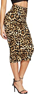 Women's Solid Basic Below Knee Stretchy Pencil Skirt