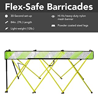 Flex-Safe Expanding Barricade, Easy-Set-Up High Visibility Portable Safety Barrier with Nylon Carry Bag: Foldable, Lightweight, Durable, Proudly Made in The USA. (84