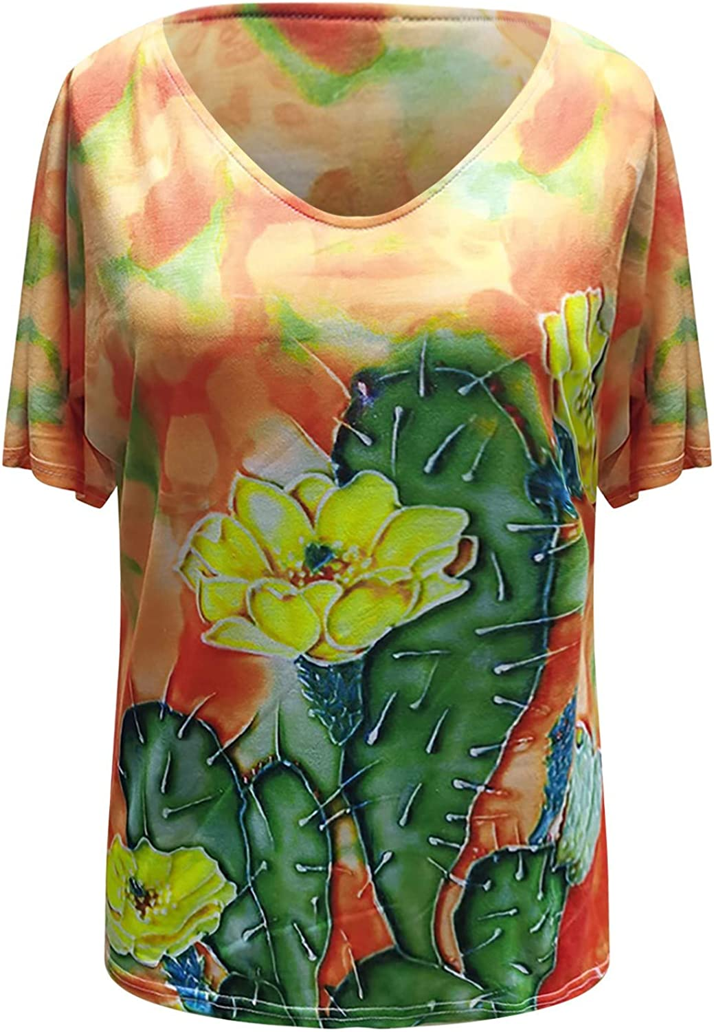 Womens Tops 3D Printed Fascinating Short Sleeve V Neck Tops Tee T-Shirt Blouse Loose Plus Size