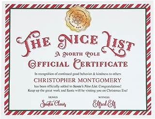 Personalized Santa Nice List Certificate