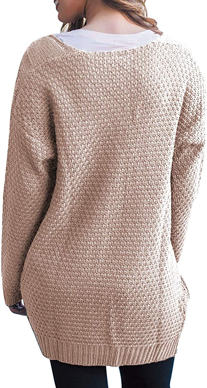 GRECERELLE Women's Loose Open Front Long Sleeve Solid Color Knit Cardigans Sweater Blouses with Pockets