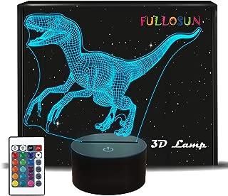 FULLOSUN恐竜3Dナイトライトジュラ紀プロジェクションLEDランプキッズルーム用ホームナースランプホームインテリアクリスマス誕生日プレゼント付き7色変更