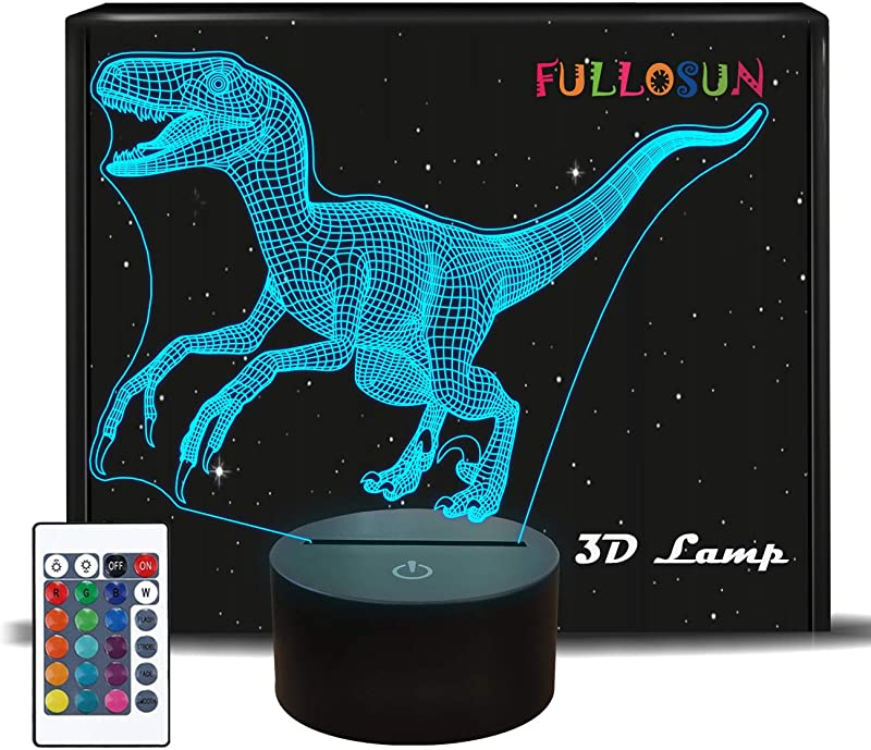 FULLOSUN Dinosaur 3D Night Light Jurassic Velociraptor Projection LED Lamp Baby Nursery Nightlight For Kids Room Home D Cor Xmas Birthday Gifts With 7 Color Changing