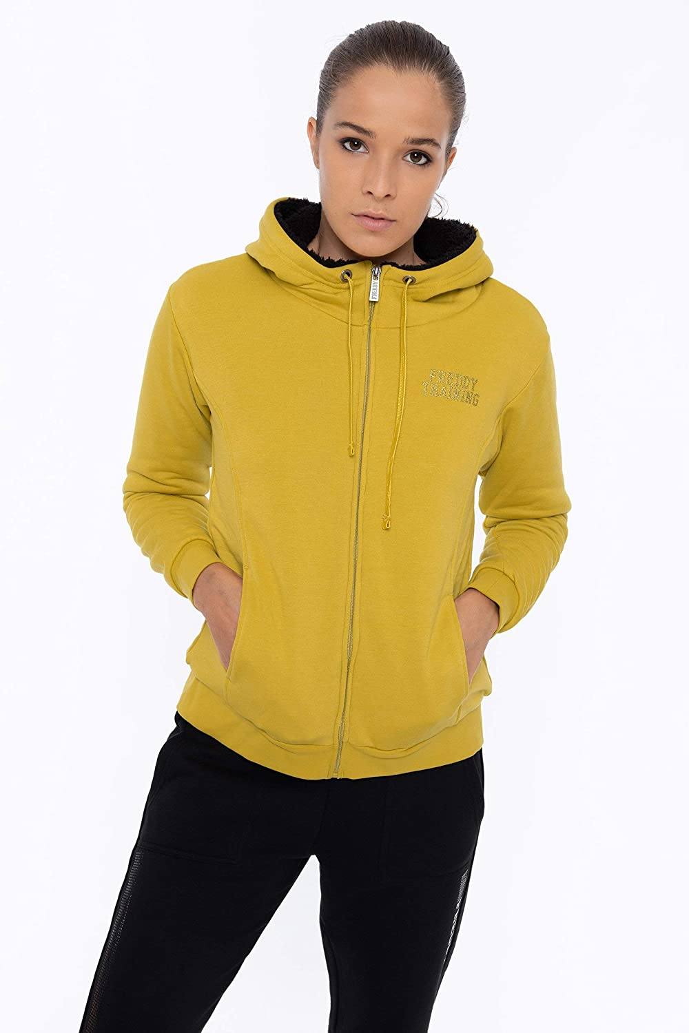 FREDDY Sweat-Shirt à Capuche orné de Mini-Clous métalliques Jaune