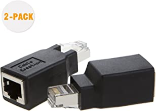CableCreation, 2-Pack Cat6/Cat5e Ethernet RJ45 Adapter Crossover to Connect 2 Computers with a Standard LAN Cable, Black