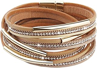 DESIMTION Wrap Boho Multilayer Leather Wide Cuff Handmade Wristbands Wrist Braided Magnetic Buckle Casual Bangle Bracelet for Women, Teen Girl, Boy Gift