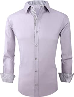 Markalar Mens Casual Button Down Shirts Regular Fit Long Sleeve Cotton Dress Shirt
