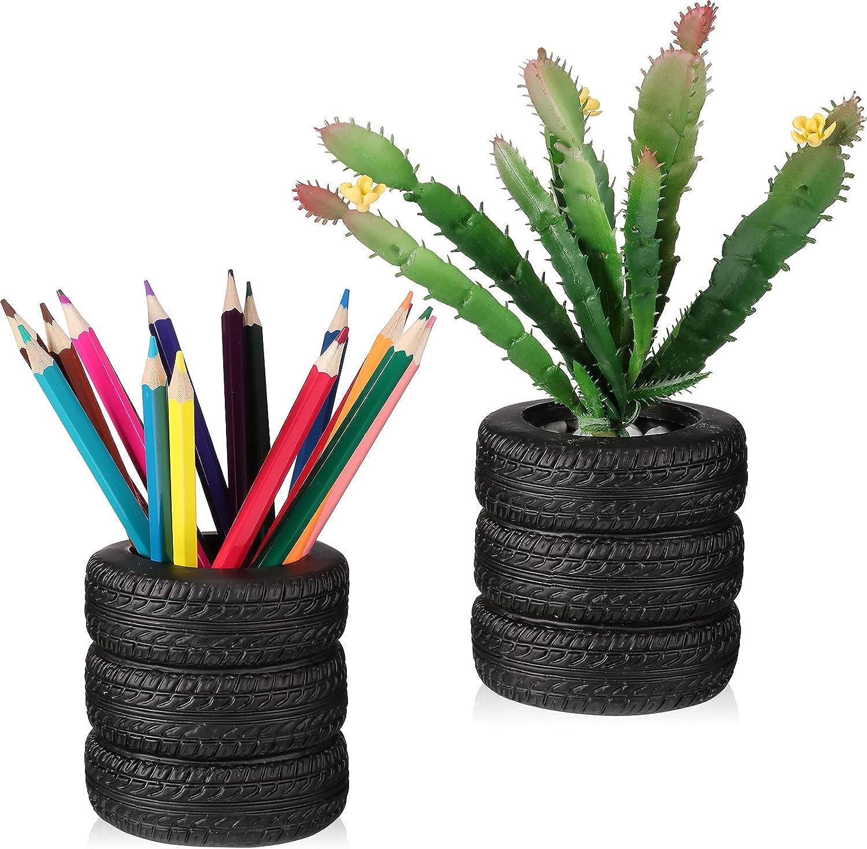 2 Pieces Tire Shaped Planter Pen Holder Air Plant Pot Pencil Holder Desk Organizer Accessories Pen Holder Tire Shaped Plastic Black Pen Stand for Home, Office, Tabletop, Desk, Pen, Pencil Organizer