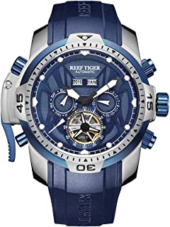 Reef Tiger Mens Luminous Sport Steel Blue Dial Automatic Watch Rubber Strap RGA3532