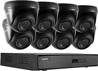 SANNCE Kit de Seguridad Sistema de 8CH 1080N DVR 5-en-1 y 8 Cámaras de vigilancia 720P HD con visión Nocturna Leds IP66 Interior/Exterior Acceso Remoto-sin HDD