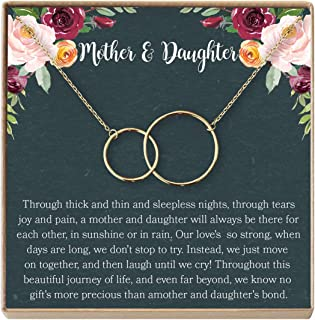 Mother Daughter Gift Necklace, Gifts for Mom, Mom Necklace, 2 Interlocking Circles