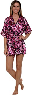 Del Rossa Womens Printed Satin Robe, Short Dressing Gown