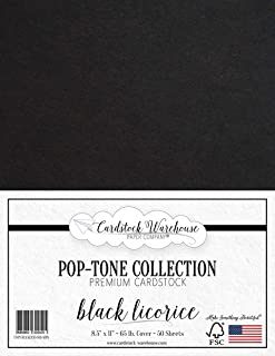 Black Licorice Cardstock Paper - 8.5 x 11 inch 65 lb. Cover -50 Sheets from Cardstock Warehouse