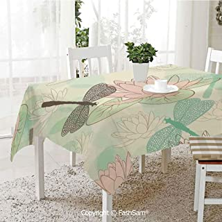 Premium Waterproof Table Cover Floating Water Lily and Dragonfly Figures On The Lake in Soft Color Design Print Table Protectors for Family Dinners (W55 xL72)