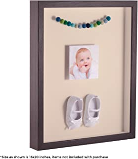 ArtToFrames 12 x 18 Inch Shadow Box Picture Frame, with a Melinga Oak Gray 1'' Shadowbox Frame and Alabaster Mat
