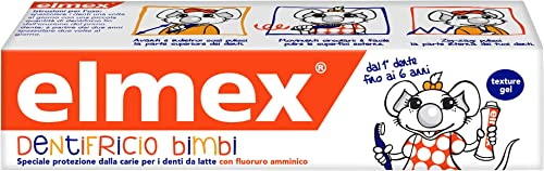 Elmex Baby Toothpaste 0-6 Years, avec une concentration réduite de fluorure d'amines pour protéger les dents des enfa...