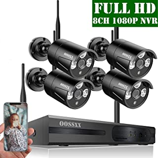 【2020 Nuevo】Sistema de Cámara de Seguridad 1080P NVR Grabador Kit de Vigilancia CCTV con 4 1080P IP Cámaras de Vigilancia WiFi Exterior Monitoreo Remoto de Seguridad Inalámbrico Sin Disco Duro