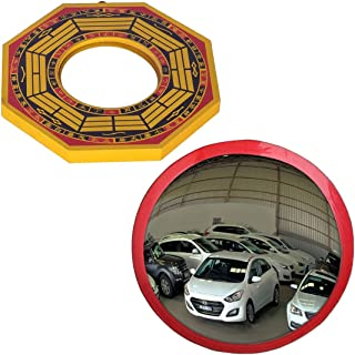 Ryme Combo of 6 Inches Convex Bagua Mirror and 9 Inches Convex/Pakwa Mirror/Safety Mirror for Removal of Outside Negative Energy