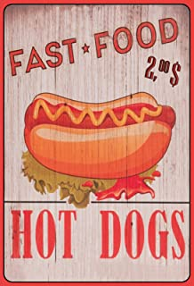 Schatzmix Blechschild Spruch Fast Food-Hot Dog 2,00$ Metallschild 20x30 Deko Tin Sign Señal metálica, hojalata, Multicolor, 20 x 30 cm