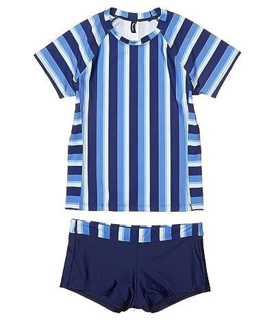 Splendid Littles Parallel Stripe Rashguard Swim Shorts (Little Kids/Big Kids) (Navy) Girl