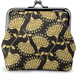 がま口 財布 金色の花 レザー 小銭入れ 収納バッグ ミニポーチ 大容量 丸形 柔らかい ウォレット ICカード 機能的 コインケース 便利 軽量 小物入れ プレゼント